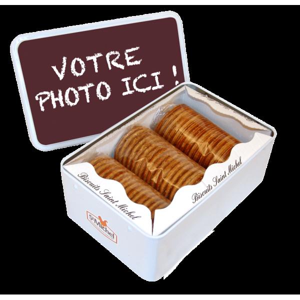 Personnalisation cadeau boîte biscuits St Michel