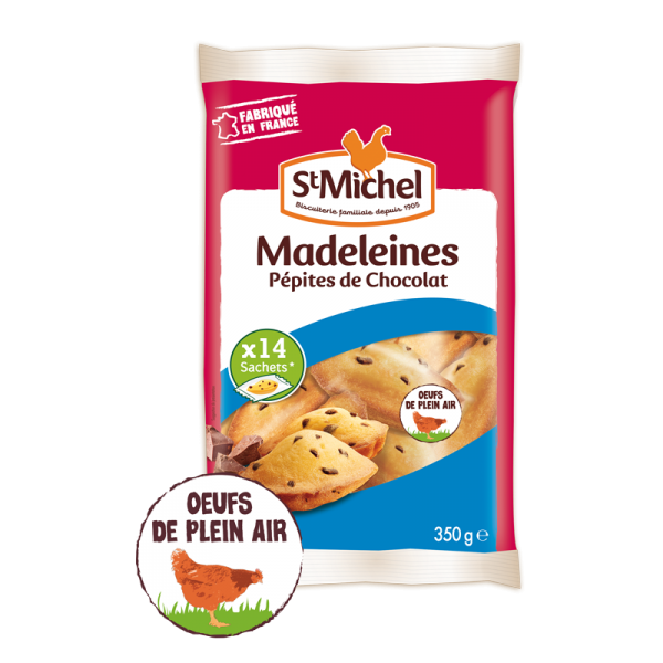 Madeleines pépites de chocolat sachet individuel St Michel - 350g