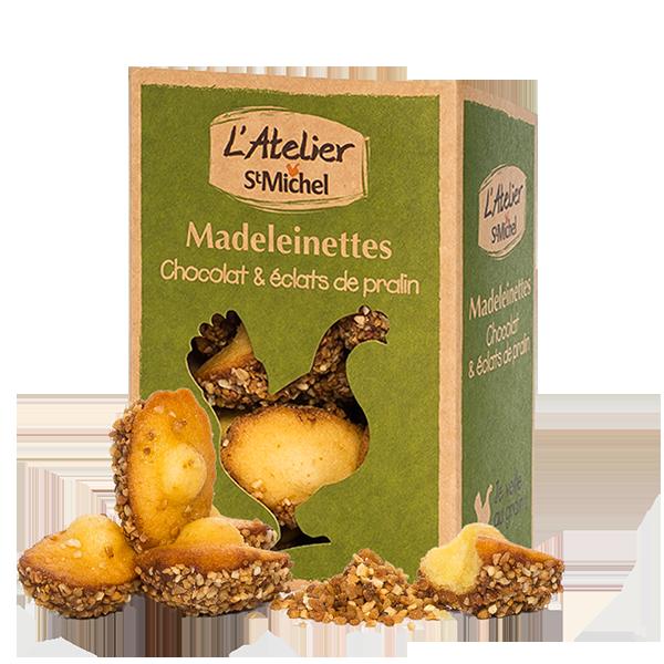 Madeleinettes chocolat et éclats de pralin Atelier St Michel - 150g